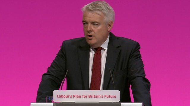 Carwyn Jones speaks at the 2014 Labour Party conference in Manchester