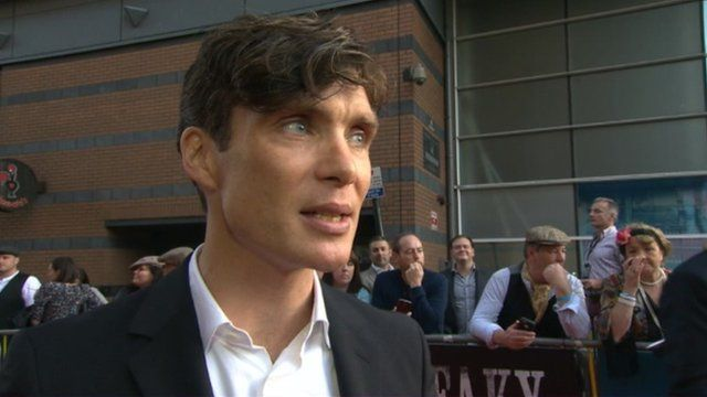 Actor and gang leader Cillian Murphy attended the premiere in Birmingham