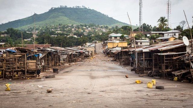 An empty local market area is seen, as Sierra Leone government enforces a three day lock-down on movement of all people in a attempt to fight the Ebola virus, in Freetown, Sierra Leone.