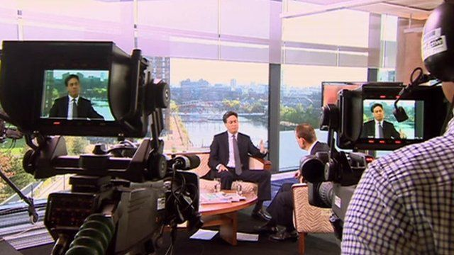 Ed Miliband on set of Andrew Marr programme
