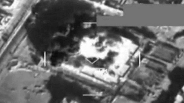 Still from air strike - Pentagon footage