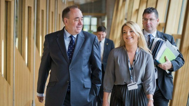First Minister of Scotland Alex Salmond arrives to address the Scottish Parliament