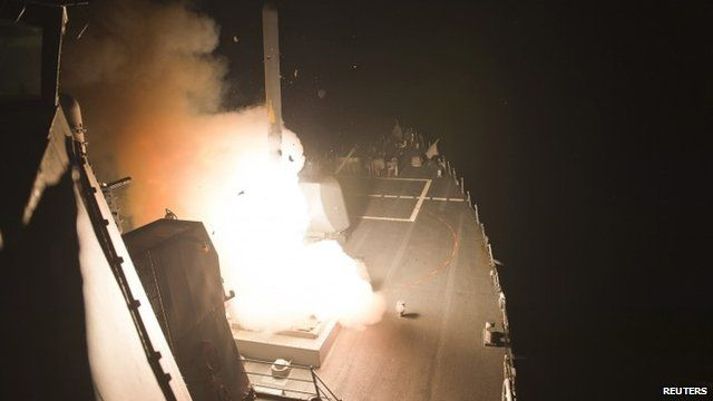 Tomahawk cruise missiles being launched