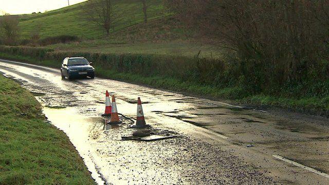 A damaged road