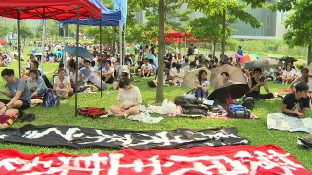 Students preparing for protests in a Hong Kong park