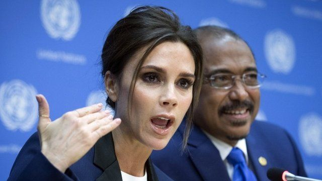 Victoria Beckham speaks alongside Michel Sidibe, Executive Director of Joint UN Program on HIV/AID