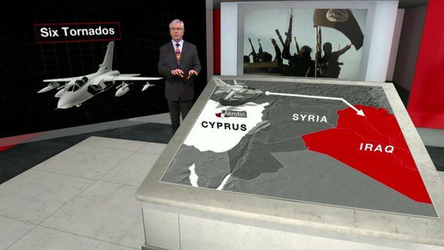 James Robbins pointing at map showing Cyrpus, Syria and Iraq