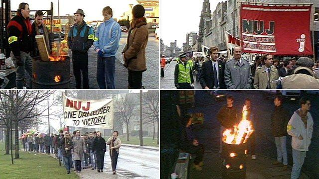 Aberdeen Journal workers on strike in 1989