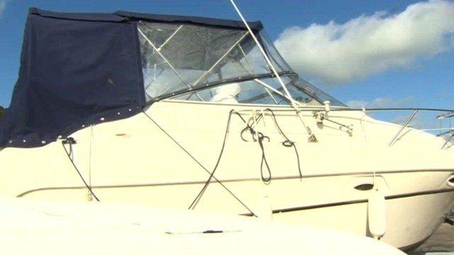 The motorboat seized in Pwllheli
