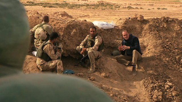 The BBC's Quentin Sommerville inside Iraqi trench