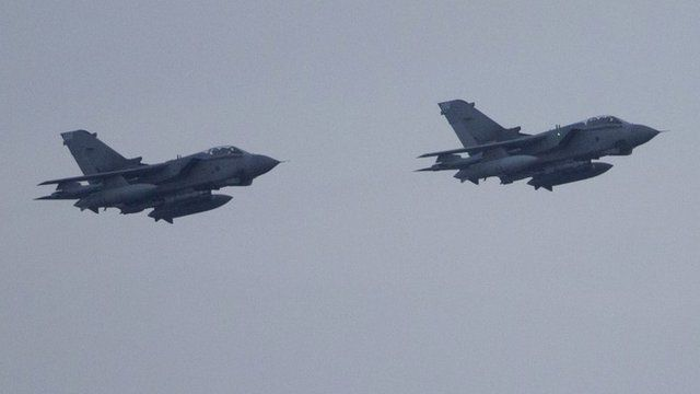 RAF Tornado GR4 fighter jets prepare to land at the Akrotiri British airbase, near the Cypriot port city of Limassol