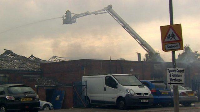 Firefighters tackle a blaze in Tyseley