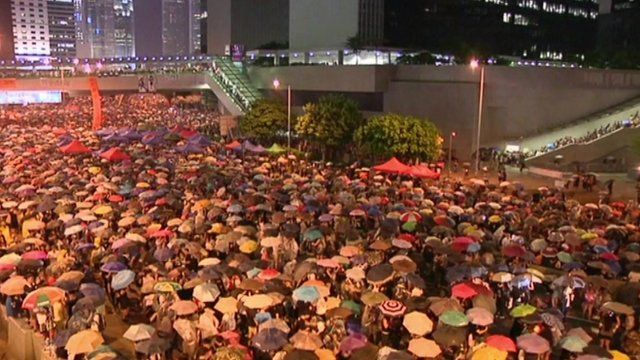View of protesters with umbrellas in Hong Kong