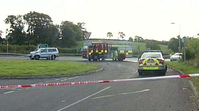 The scene near the crash in County Down where the two nuns were killed