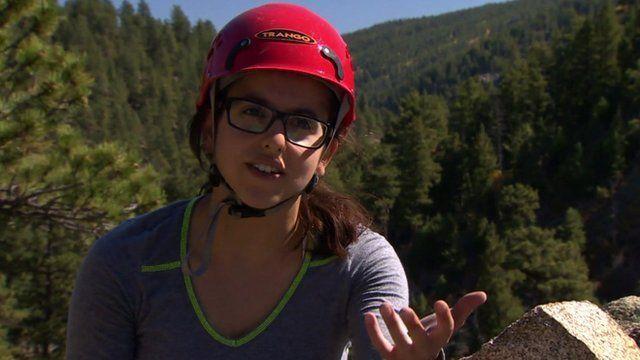 A woman rock climber near Denver