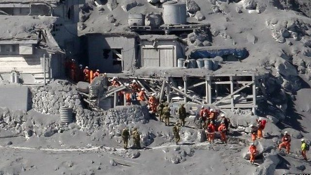 Rescue Workers on Mount Otake in Japan