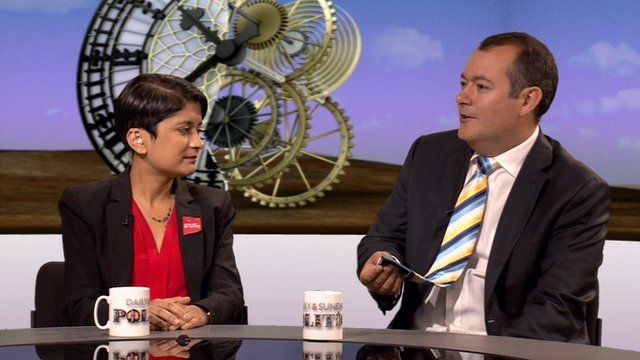 Shami Chakrabarti with Michael Dugher MP showing off a Yorkshire tie