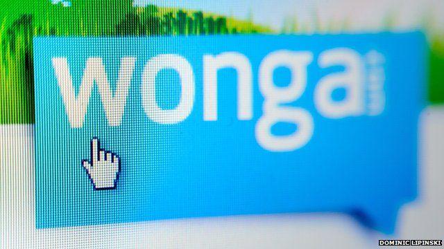Close up of Wonga logo on computer screen