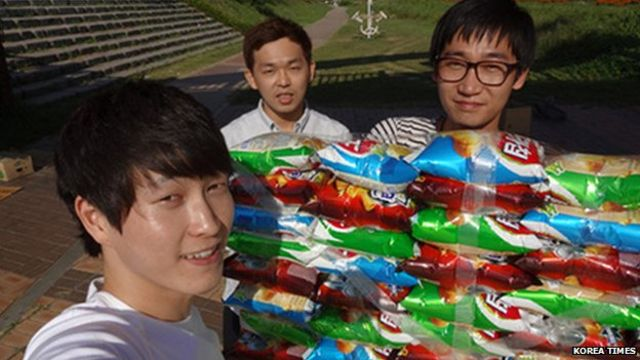 Korea: Student protesters build crisp packet boat