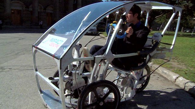 The wheelspan vehicle is an electric hybrid of a car and a bike