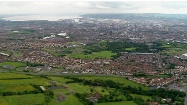 Aerial view of greater Belfast