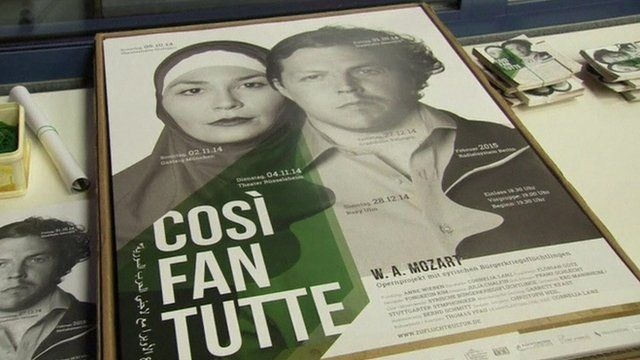 Poster for Syrian refugee production of Cosi Fan Tutte in Germany