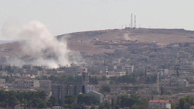 Kobane seen from Turkish border