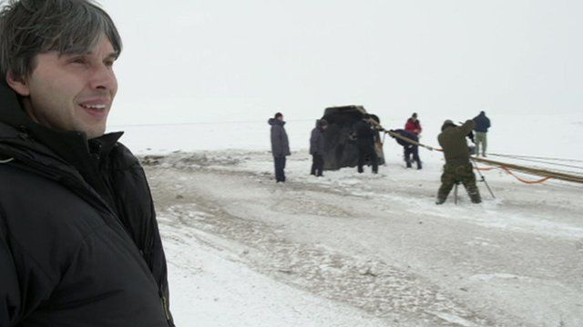 Brian Cox in Kazakhstan with the returning Cosmonauts from the International Space Station