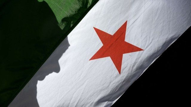 A woman's shadow is cast on a Syrian flag (library pic)