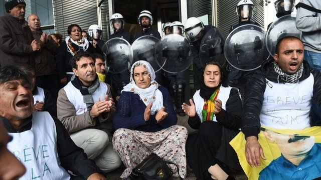 Kurdish protesters at the European Parliament