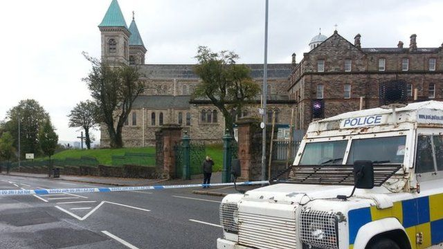 The device was thrown at a police patrol on the Crumlin Road