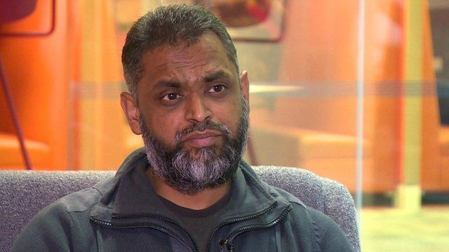 Moazzam Begg speaking to the BBC