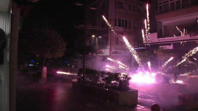 Firework fired at police by protestors in Istanbul