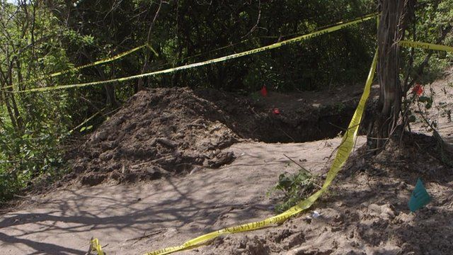 One of the six mass graves found near Iguala, Mexico