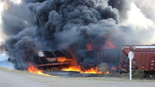 A Canadian National Railway Co train that derailed near Clair, Saskatchewan