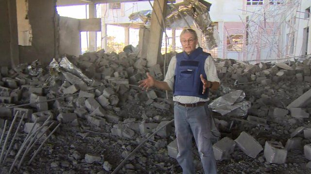 Jim Muir in bombed building