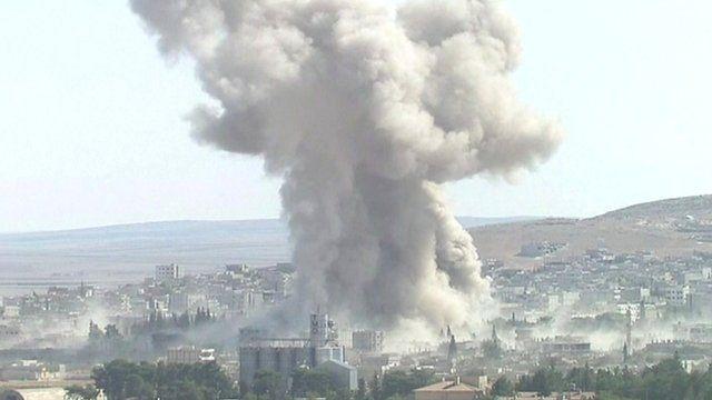 An explosion in Kobane