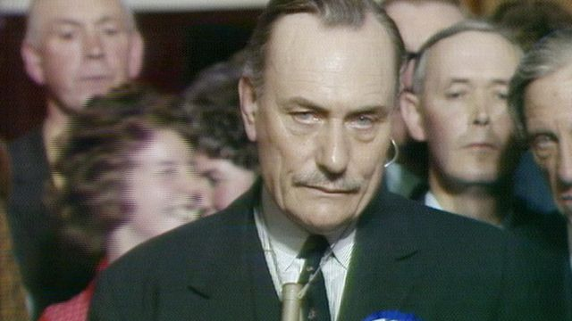 Enoch Powell being interviewed by Robin Day