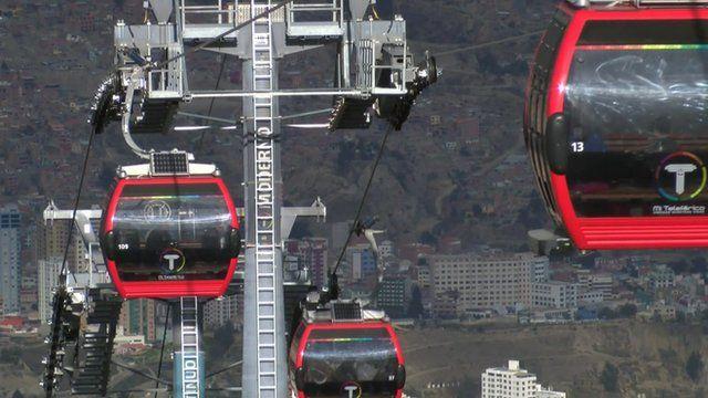 Cable cars in La Paz Bolivia
