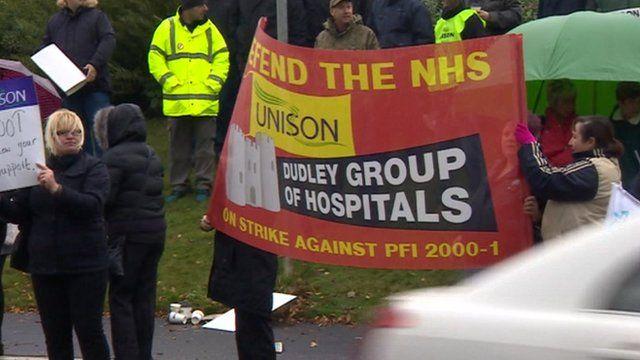 NHS workers on strike in Birmingham