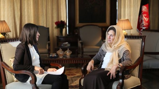 Afghan first lady Rula Ghani speaking to the BBC's Sana Safi