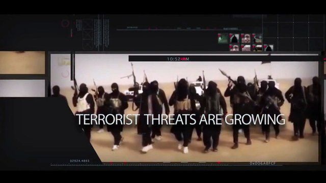 """Campaign ad screenshot says """"terrorist threats are growing"""""""