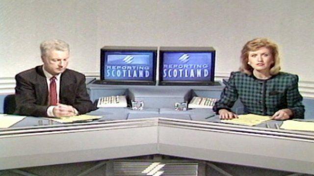 John Milne and Jackie Bird presenting Reporting Scotland in 1989