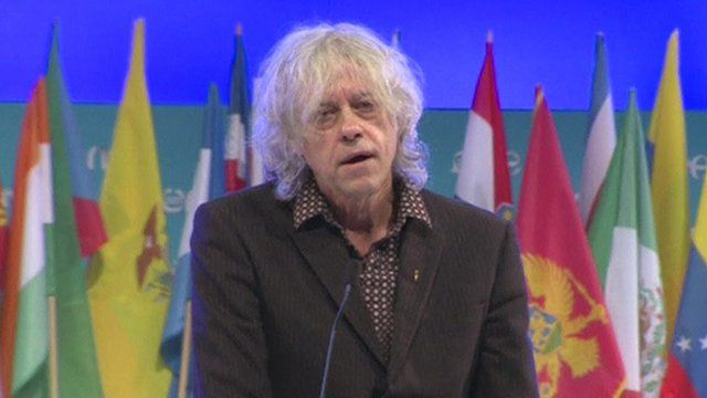 Bob Geldof speaking at the One Young World summit