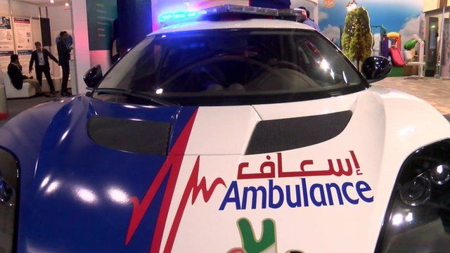 The world's fastest ambulance has been revealed at the Gitex technology show in Dubai.