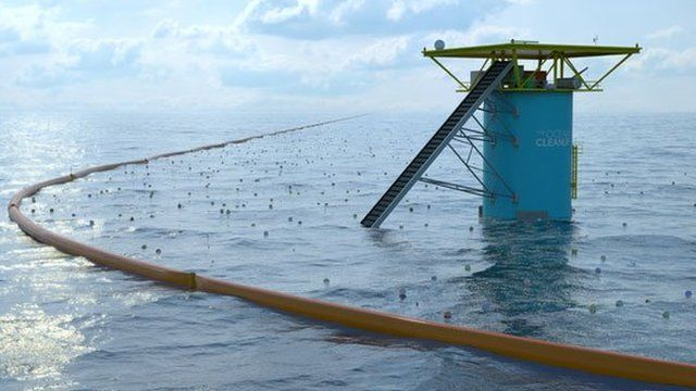 Artist's impression of the Ocean Clean-up platform and barrier out at sea