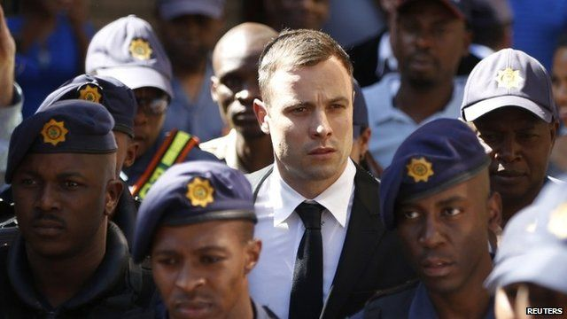Oscar Pistorius leaving court on 16 October