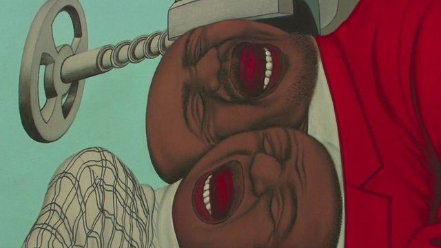 Painting of 2 men screaming with their head in a vice