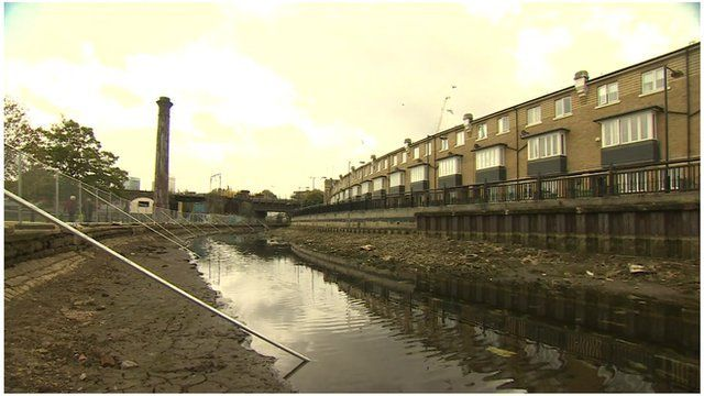 art of Regents Canal in east London has been drained for repair work