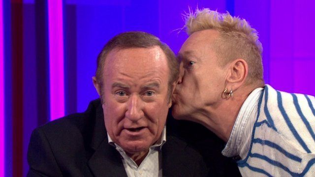 Andrew Neil kissed by John Lydon during This Week